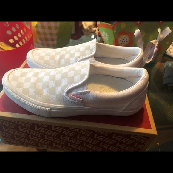 White Checkered Reflective Vans   Poshmark